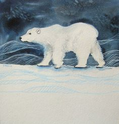 Polar Bear Watercolor Painting - Winter Animal Art by Olivia Moore   www.etsy.com/shop/poofydove