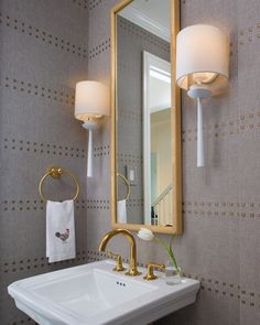 Powder bath the perfect place to go B I G! White And Silver Wallpaper, Gold Geometric Wallpaper, Blue Floral Wallpaper, Blue Powder Rooms, Modern Powder Rooms, Cedar Homes, Powder Room Design, Transitional Bathroom, Beveled Mirror