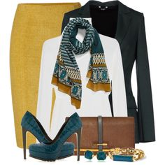 A fashion look from February 2014 featuring Yves Saint Laurent sweaters, Carla G. blazers and Jonathan Saunders skirts. Browse and shop related looks.
