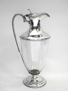 ANTIQUE VICTORIAN SILVER CLARET JUG SHEFFIELD 1890 WINE DECANTER John Bull Antiques  www.antique-silver.co.uk Silver Dealer London, UK
