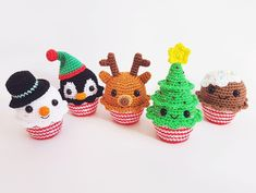 This is a pattern for 5 super cute Christmas Cupcakes! They will look fab as decoration for christmas, hang them in your christmas tree or why not make them as christmas gifts.The pattern has well written instructions and lots of step by step picturesCrocheted on a 2.50 mm crochet hook using 4-ply sport weight cotton yarn Approximate size: Christmas Tree 12x6 cm Reindeer 10x6 cm Snowman 9x6 cm Gingerbread Man 7,5x6 cm Penguin 10x6 cmBut whatever hook sizes you use the Christmas Cupcakes will…