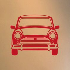 Classic Mini Vinyl Wall Sticker Front/Side - Not On The High Street Price: £10.95