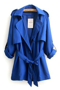 Blue Lapel Three Quarter Sleeves Outerwear