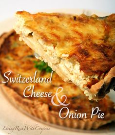 Switzerland Cheese and Onion Pie Recipe. Make this tasty meatless quiche. Serve with a soup and a salad. Onion Recipes, Pie Recipes, Brunch Recipes, Great Recipes, Cooking Recipes, Favorite Recipes, Cheese And Onion Pie, Cheese Pie Recipe, Quiches