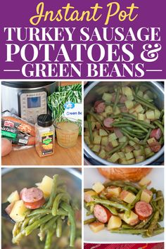 Instant Pot Turkey Sausage Potatoes & Green Beans Recipe a flavorful and healthy one-pot dinner for busy weeknights easy to prep in just minutes! Healthy One Pot Meals, Healthy Vegetable Recipes, Healthy Meal Prep, Healthy Food, Sausage Potatoes Green Beans, Frozen Green Beans, Low Sodium Chicken Broth, Homemade Seasonings, Green Bean Recipes