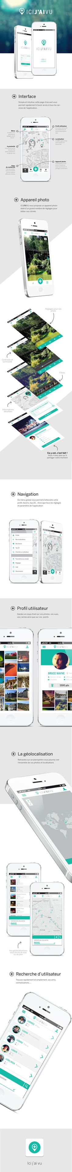 Application ICI J'AI VU by Nathalie Troucelier, via Behance // design mobile… Iphone App Design, App Ui Design, User Interface Design, Game Design, Interaktives Design, Flat Design, Graphic Design, Application Design, Interaction Design