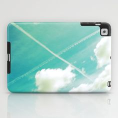 Scottish sky 2594 iPad Case by Cally Creates   Society6. I always smile when I see crossed contrails in the sky reminding me of the Scottish flag, especially when I was young and living 5000 miles away from my home country.  (blue green - sky - clouds - saltire - space - freedom - float - soft - pastel - airy - cross - X - contrails)  www.callycreates.blogspot.co.uk www.facebook.com/cally.creates/
