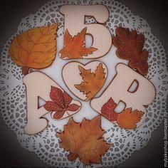 """Купить """"Золотая осень!"""" пряники - козули на день учителя - золотой, коричневый, красный, листья, осень"""