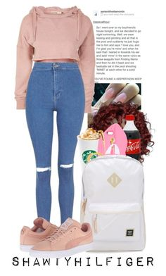 """""""Pinkie"""" by shawtyhilfiger ❤ liked on Polyvore featuring Topshop, STELLA McCARTNEY, PhunkeeTree, Herschel Supply Co. and Puma"""