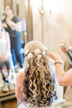 Wedding Hair by Liz provides professional hair styling for weddings, proms and special events all over the Raleigh, Durham and Chapel Hill areas. Curly Wedding Hair, Wedding Hair And Makeup, Bridal Hair, Bridal Make Up, Wedding Make Up, Wedding Bridesmaids, Wedding Dresses, Professional Hairstyles, Hairstyle Ideas