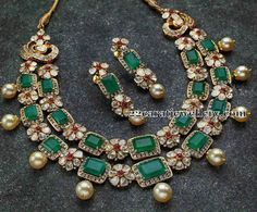 Jewellery Designs: 2 Step Faceted Emerald Polki Set
