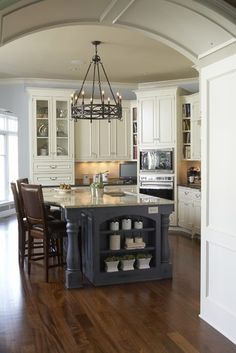 Kitchen With Arch And Blue Paint Island Design Ideas Pictures Remodel Decor