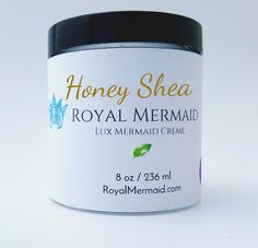 Honey Shea Lux Mermaid Creme  Create a life that you don't need a vacation from with Royal Mermaid & The Captain! We specialize in personalized products and incredible customer service. RoyalMermaid.com #royalmermaid #thecaptain #nomoredryskin #soothing #eczema #hormonesafe #pcossafe #pcos #psoriasis #shopsmall #gifts #birthday #bathfizzies #cleanser #skinpolish #mermaid #mermaidcreme #seasoak