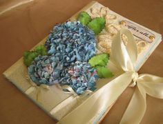 Rustic Wedding guest book 3D blue paper watercolor hydrangea aged coffee tea stain paper DIY