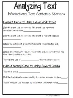 th grade english practice performance tasks cer sentence sentence starters helping students interpret what they read