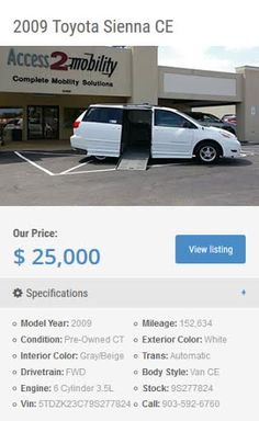 Tyler, Texas: http://inventory.access2mobility.com/inventory/ We have the knowledge, experience, product, & service to help.