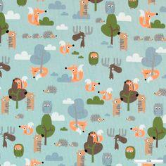 271287 Stretch jersey aqua m skovens dyr - 100 kr. meteren - stofogstil