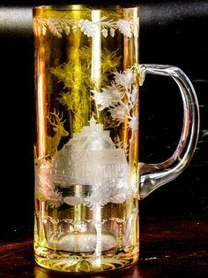 Boemia del Nord, Sudeti 1830 c.a .Raro boccale da birra del periodo biedermeier molato con scena di caccia |Antiquariato su Anticoantico