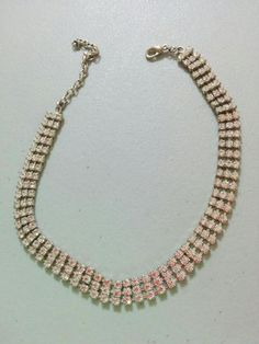 BUY IT NOW! FREE SHIPPING! Silver Triple Row Bright Rhinestone Choker Necklace Adjustable 12-15  | eBay