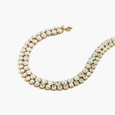 "JCrew.com | We adjoined two strands of glass crystals covered in an aurora borealis coating (which gives them a cool, iridescent effect) to create a pretty statement necklace. Length: 15 3/4"" with a 2 1/4"" extender chain for adjustable length."