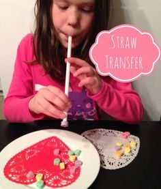 Conversation heart straw transfer. Great fun for parties or family night!