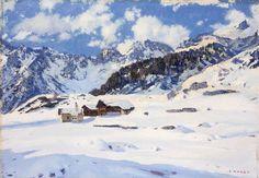 """MAGGI CESARE  """"Neve a Bardonecchia""""  70x100 olio su tela  Opera firmata in basso a destra"""