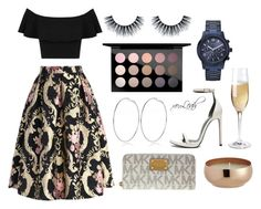 """""""Champagne Poppin"""" by xoleah ❤ liked on Polyvore featuring Miss Selfridge, Chicwish, Yves Saint Laurent, GUESS, MAC Cosmetics, River Island, Michael Kors, CB2, beoriginal and xoLeah"""