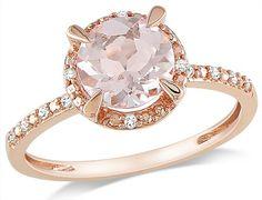 round morganite, pink gold ring