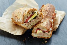 """When you think about it, """"Pan Bagnat"""" is just a fancy way of saying """"the best of all possible summer sandwiches."""" Unlike the typical tuna on wheat, this Provençal classic only gets… Best Canned Tuna, Canned Tuna Recipes, Fish Recipes, Cooking Recipes, Cooking Tips, Cooking Stuff, Coconut Recipes, Healthy Recipes, Pan Bagnat"""