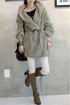 NewWomen Faux Wool Trench Coat Hooded Parka Jacket Overcoat Outwear hoodie Tops