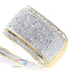 1.65 Ct Mens Yellow Gold Finish Pave Diamond Wedding Engagement Pinky Rings Band #tvsjewelery #WeddingPinkyBandRing