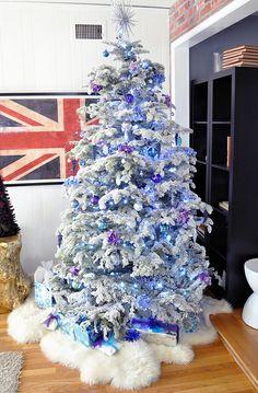 Fur for tree skirt. flocked Christmas tree - purple and blue Christmas Purple Christmas Decorations, Purple Christmas Tree, Pretty Christmas Trees, Merry Christmas, Flocked Christmas Trees, Christmas Tree Wreath, Christmas Love, Christmas Holidays, Christmas Ideas