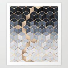 Soft Blue Gradient Cubes Art Print
