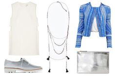 Date-night outfit idea: White minidress, cropped printed jacket, metallic oxfords and clutch