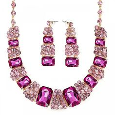 Jewelry Sets Rosy Pink Crystal Choker Prom Necklace Earring