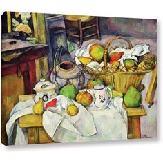 Paul Cezanne Still Life with Basket Gallery-wrapped Canvas Art, Size: 18 x 24, White
