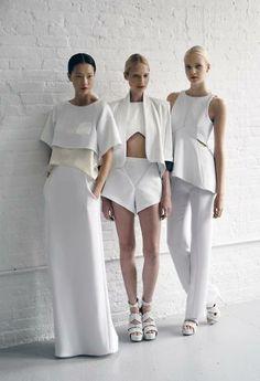 Look 1: Loose Crop Top w/ Long Loose SKirt Look 2: Crop Top w/ short Look 3: Peplum Top with Straight Pants