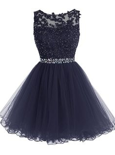 Tideclothes Short Beaded Prom Dress Tulle Applique Evening Dress Navy US10
