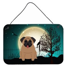 Halloween Scary Pug Brown Wall or Door Hanging Prints BB2195DS812