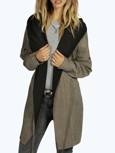 SheIn offers Khaki Hooded Drawstring Pockets Coat   more to fit your  fashionable needs. b342fbd192b8
