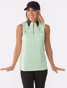 Leather meets soft greens in this apres golf beauty! Snag it now for one of your fall essentials! #ladiesgolftops #golfshirts #womensgolfapparel #ladiesgolfapparel #ladiesproshop #golfboutique #apresgolfclothing #onandoffthecourseclothing #countryclubcouture   Snag one  https://www.ladiespro.com/ladies-golf-apparel/womens-shirts?product_id=21734