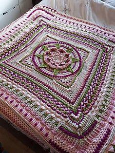 The Amanzi Block/Throw Crochet pattern by Jen Tyler – Granny Square Crochet Mandala Pattern, Crochet Blocks, Granny Square Crochet Pattern, Afghan Crochet Patterns, Crochet Squares, Crochet Stitches, Crochet Afghans, Crochet Granny, Free Crochet