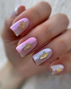 30 Perfect Pink And White Nails For Brides ❤ pink and white nails pink white with gold foil gert_nails #weddingforward #wedding #bride #pinkandwhitenails #weddingnails #bridalnails