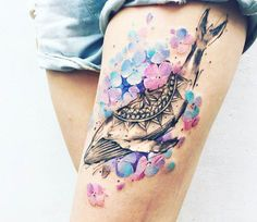 Cool Female Thigh Tattoo Designs - Best Thigh Tattoos For Women: Cute Leg Tattoos on Upper, Side, and Back Thigh - Pretty Cool Female Thigh Tattoo Designs and Ideas Trendy Tattoos, Sexy Tattoos, Cute Tattoos, Beautiful Tattoos, Body Art Tattoos, Girl Tattoos, Tattoos For Women, Tatoos, Crotch Tattoos