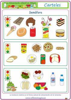 La alimentación infantil en dibujos: Semáforo