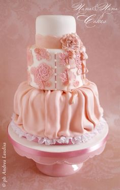 A beautiful ruffle cake. It would be perfect for a bridal or baby shower, sweet sixteen cake, or a birthday cake. Love it!