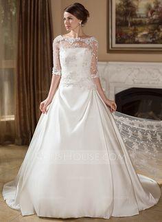Wedding Dresses - $176.99 - A-Line/Princess Strapless Court Train Satin Wedding Dress With Ruffle (002004756) http://jjshouse.com/A-Line-Princess-Strapless-Court-Train-Satin-Wedding-Dress-With-Ruffle-002004756-g4756