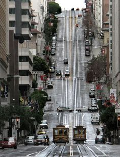 Nob Hill, San Francisco, CA, USA. California Street cable car rides are an awesome tourist activity!