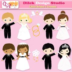 Cute Dilek Little Brides & Grooms clipart perfect for your craft project, scrapbooking, invitation, web design, paper product, design card and everything else. Great for cute announcements web store fronts, blog design or simple enough for embroidery
