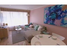 The Block Triple Threat - Living Room Reveal - Luke and EbonyThe Block Triple Threat - Living Room Reveal - Luke and Ebony Pastel Walls, Pink Walls, Moving Out Of Home, Living Spaces, Living Room, Sweet Home, Dining Table, Lounge, Interior Design